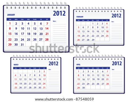 Calendar 2012, 1st set for January to April - stock vector