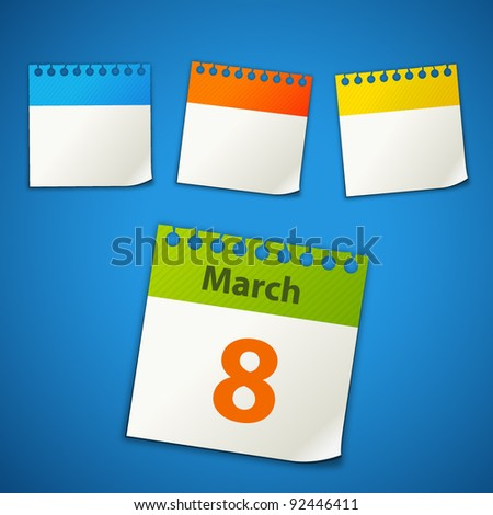 calendar stickers - stock vector