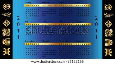 calendar symbol Blue 2011 - stock vector