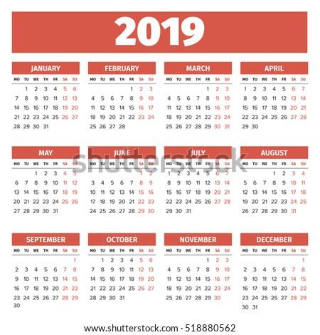 English Template Wall Quarterly Calendar 2017 Vector – Quarterly Calendar Template