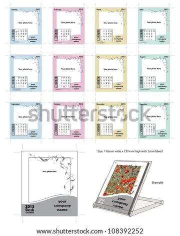 Calendar Template for CD Desk Calendar Jewel Cases.  Simply add your own images and company name. - stock vector