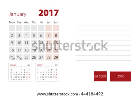 Calendar Template for January 2017