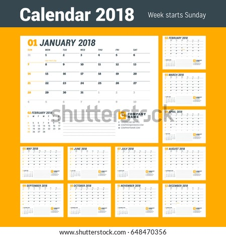 Calendar Template for 2018 Year. Business Planner Template. Stationery Design. Week starts on Sunday. Set of 12 Months. Vector Illustration