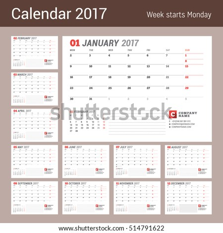 Calendar Template  Year Business Planner Stock Vector
