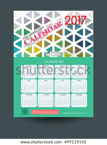Calendar 2017. Template of calendar with modern colorful background. Vector illustration.