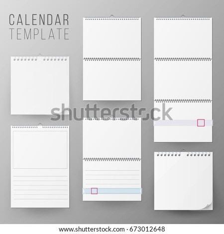 Calendar template set vector realistic calendar stock vector calendar template set vector realistic calendar blank hanging on a wall blank office calendar pronofoot35fo Choice Image