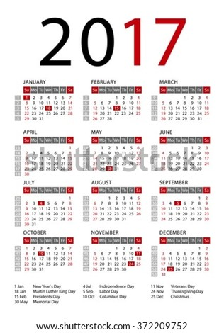 Calendar 2017 template, week starts Sunday. US public holidays ...