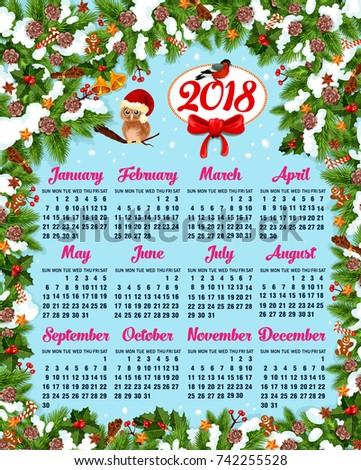 Calendar Template Christmas New Year Holidays Stock Vector 742255528