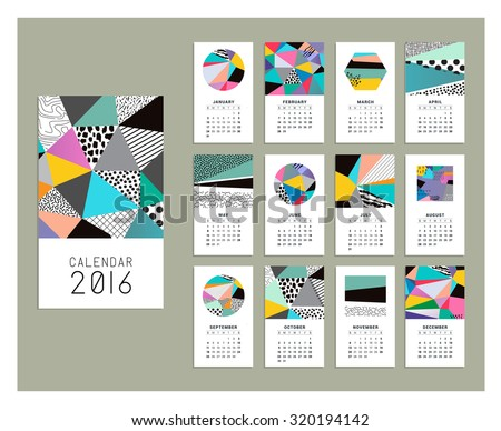 Calendar 2016. Templates with geometric backgrounds. Vector. Isolated. - stock vector