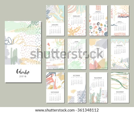 Calendar 2016. Templates with Hand Drawn textures. Art posters, backgrounds with abstract and creative doodles paint. Vector. - stock vector