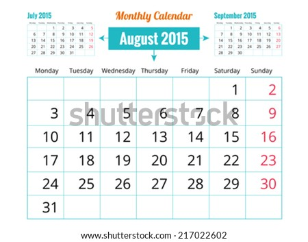 Calendar to schedule monthly. August - stock vector