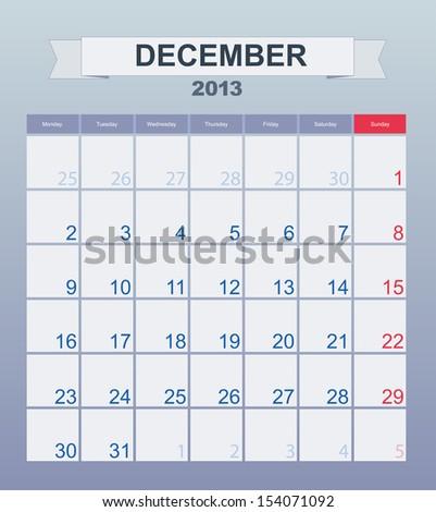 Calendar to schedule monthly. december 2013 - stock vector