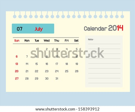 Calendar to schedule monthly. July.