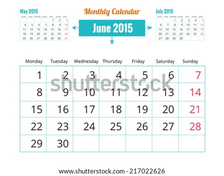 Calendar to schedule monthly. June - stock vector