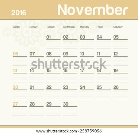 Calendar to schedule monthly. November. - stock vector