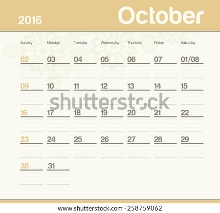 Calendar to schedule monthly. October. - stock vector