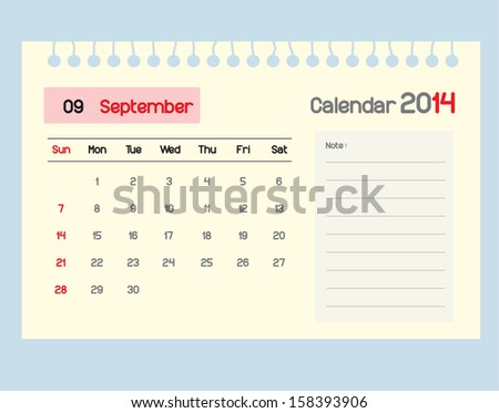 Calendar to schedule monthly. September.