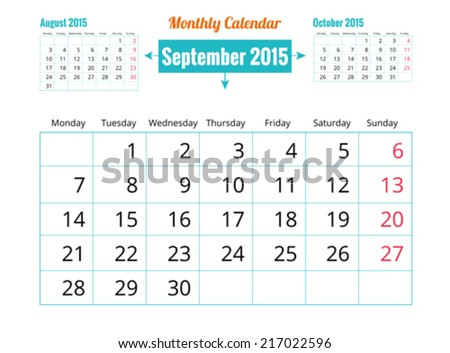 Calendar to schedule monthly. September - stock vector
