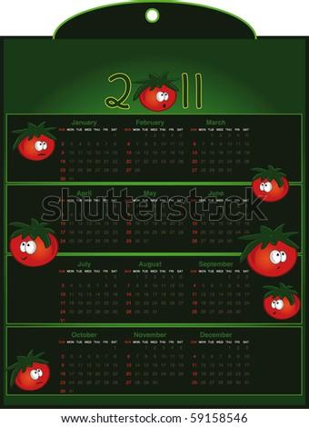 Calendar Tomato - vector - stock vector