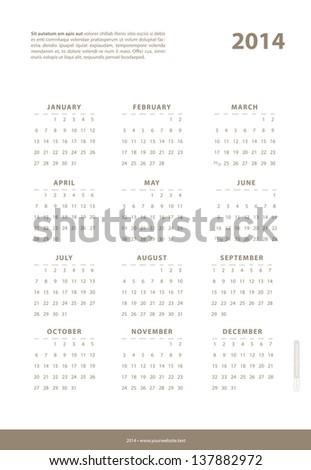 Calendar 2014. Vector. - stock vector