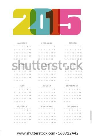 Calendar 2015. Vector. - stock vector