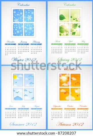 Calendar 2012. Vector - stock vector