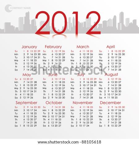 Calendar 2012. Vector City Background. - stock vector