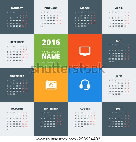 Calendar 2016 vector decign template. Week starts Monday - stock vector