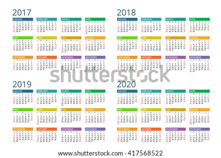 Calendar 2017, 2018, 2019, 2020. Vector, design, flayer, banner, isolated, flat, date, modern