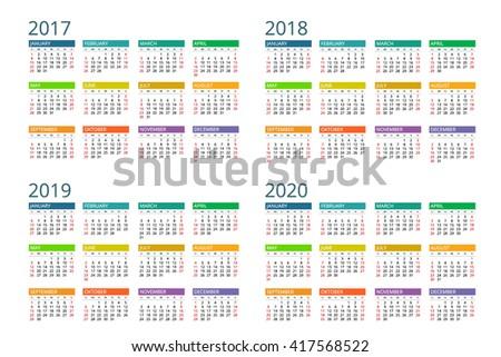 Calendar 2017,  2018, 2019, 2020. Vector, design, flayer, banner, isolated, flat, date, modern