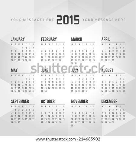 Calendar 2015 vector design template - stock vector