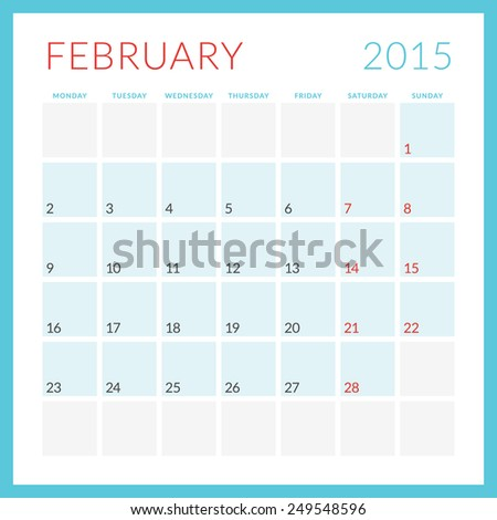 Calendar 2015 vector flat design template. February. Week starts Monday - stock vector