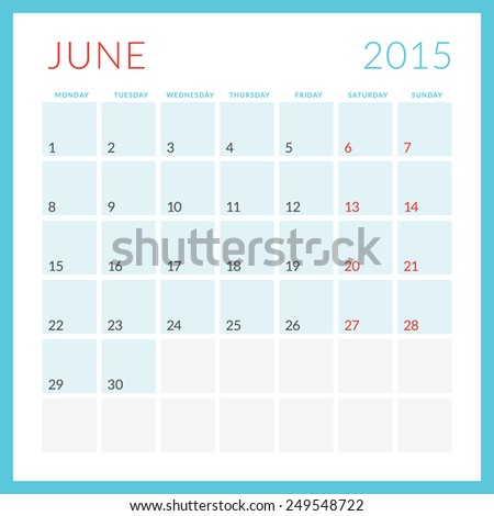 Calendar 2015 vector flat design template. June. Week starts Monday - stock vector