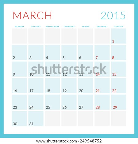 Calendar 2015 vector flat design template. March. Week starts Monday - stock vector