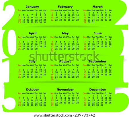 Calendar 2015. Vector IIlustration - stock vector
