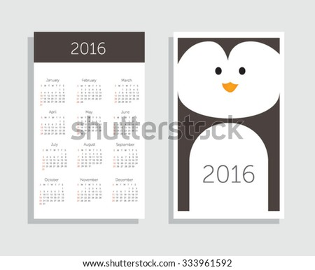 Calendar 2016. Vector illustration - stock vector