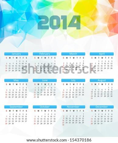Calendar 2014. Vector. Polygonal Illustration - stock vector
