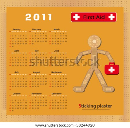 Calendar 2011  - vector Sticking plaster Figure - stock vector