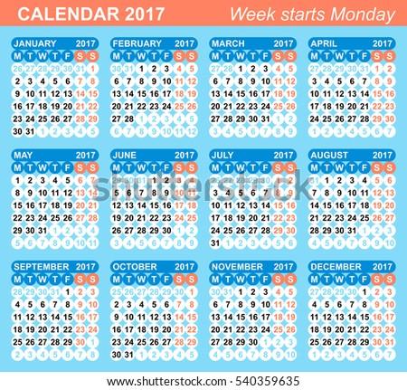 week numbers calendar 2017