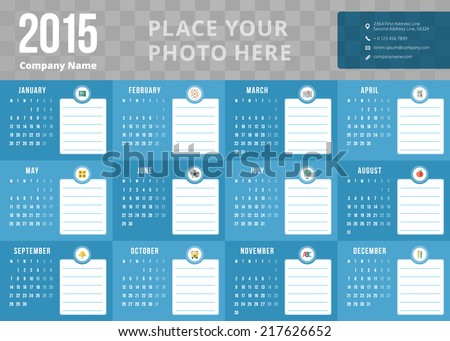 Calendar 2015 vector template week starts monday - stock vector