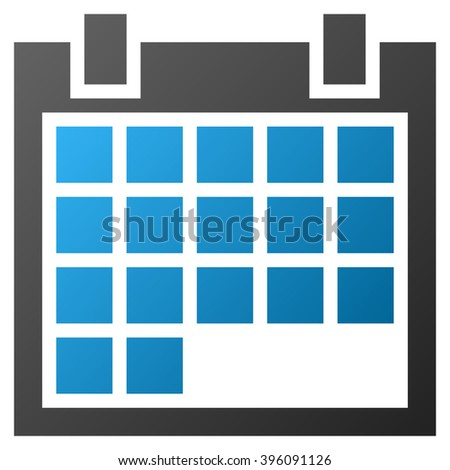 Calendar vector toolbar icon for software design. Style is gradient icon symbol on a white background.