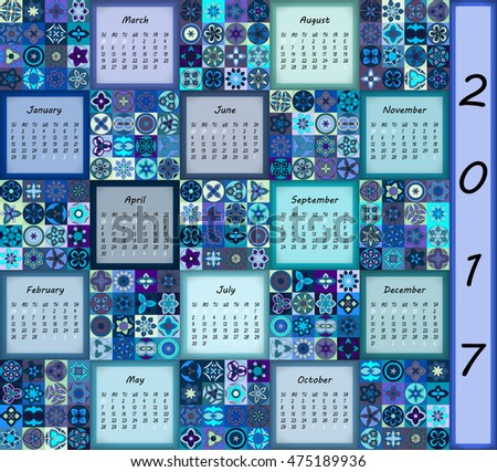 Calendar 2017. Vintage decorative colorful elements. Ornamental patchwork oriental pattern, vector illustration. Islam, Arabic, Indian, turkish, pakistan chinese ottoman motifs