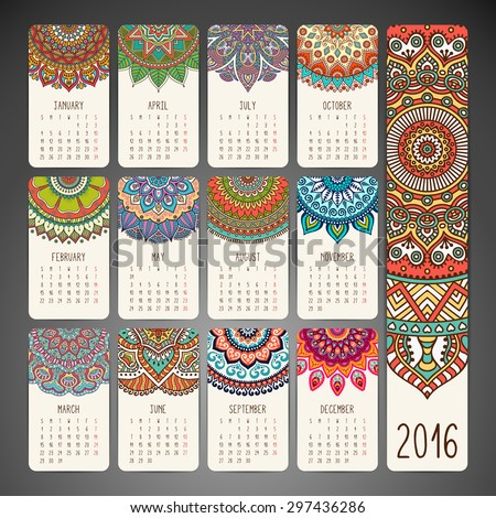 Calendar 2016. Vintage decorative elements. Oriental pattern, vector illustration.  Islam, Arabic, Indian, turkish, pakistan, chinese, ottoman motifs - stock vector