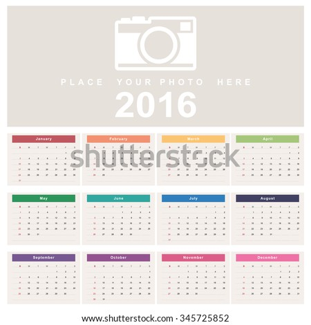Calendar 2016. Week starts from Sunday.Vector eps10
