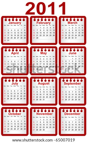 Calendar 2011. Week starts on Sunday - stock vector