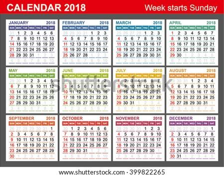 Calendar 2018 Week Starts Sunday Seasons Stock Vector 399822265 ...