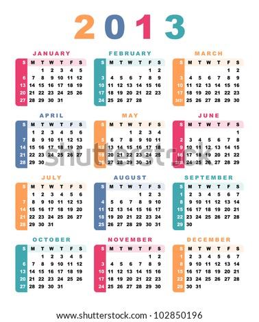 Calendar 2013 (week starts with sunday). Vector illustration. - stock vector