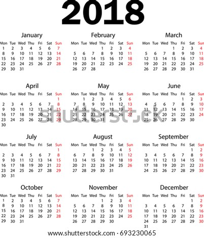 Calendar 2018 Weeks Starts Monday Stock Vector 693230065 ...