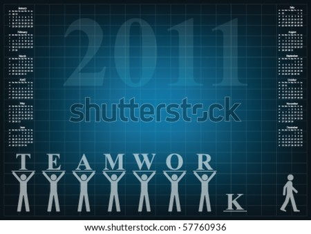 Calendar 2011 with a teamwork theme - stock vector