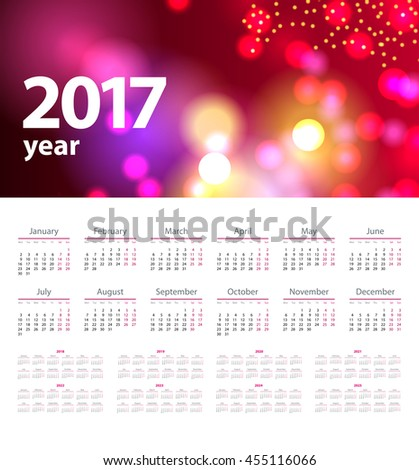 calendar with abstract red background in 2017 - 2025 year, beginning with Monday